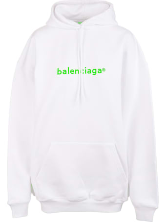 """Balenciaga Unisex White And Fluo Green """"new Copyright"""" Hoodie"""