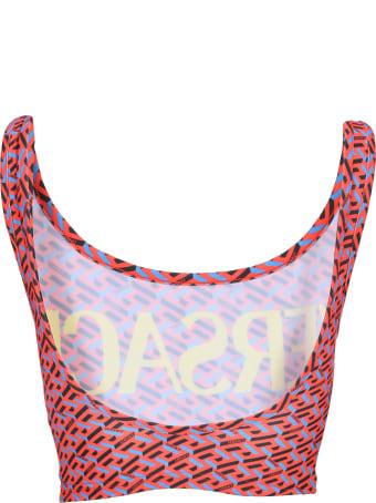 Versace Greca Signature Print Bikini Top