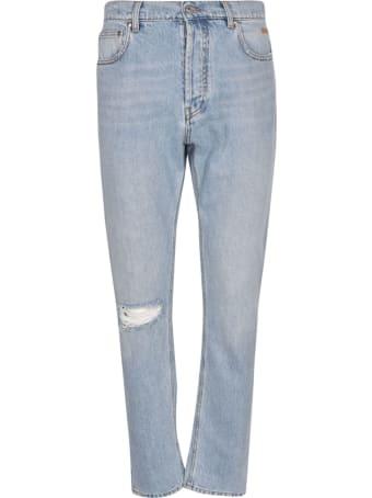 MSGM Slim Fit Distressed Denim Jeans