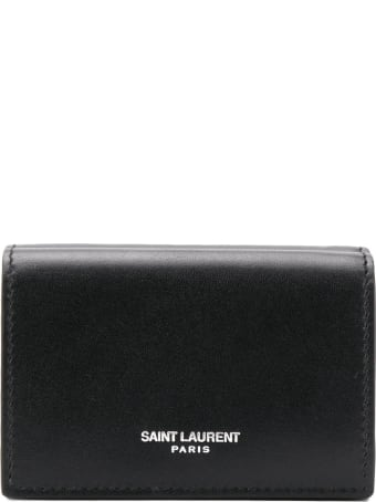 Saint Laurent Tiny Wallet In Black Smooth Leather