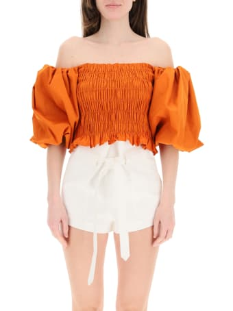 WANDERING Smocked Top With Balloon Sleeves