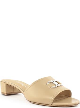 Salvatore Ferragamo Clare Beige Leather Sandal