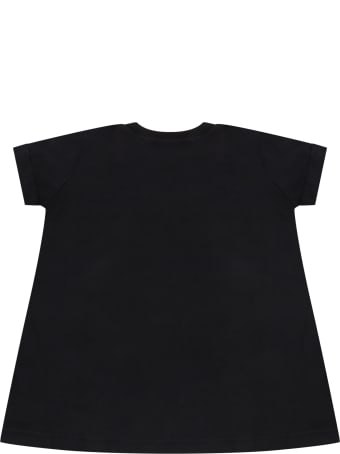 MSGM Black Dress For Babygirl With Logo