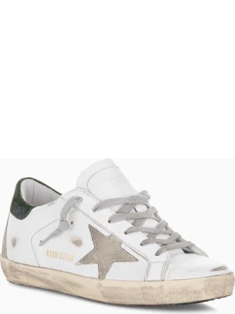 Golden Goose Star Super-star Sneakers In Suede With Blue Heel Tab