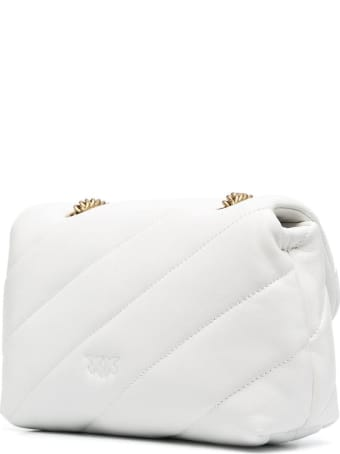 Pinko Love Mini Crossbody Bag In White Leather