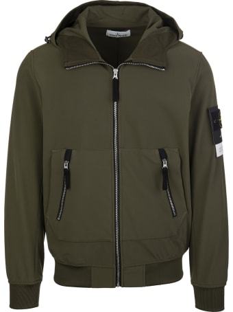 Stone Island Army Green Cotton Hooded Jacket