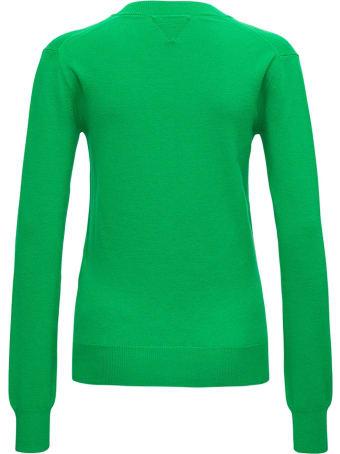 Bottega Veneta Green Long Sleeved Shirt In Wool Blend