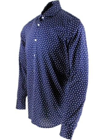 Sonrisa Luxury Shirt In Soft, Precious And Very Fine Stretch Cotton Flower With French Collar In Two-tone Grain Of Rice Print