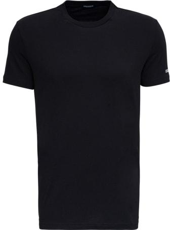 Dsquared2 Black Cotton T-shirt With Logo Print
