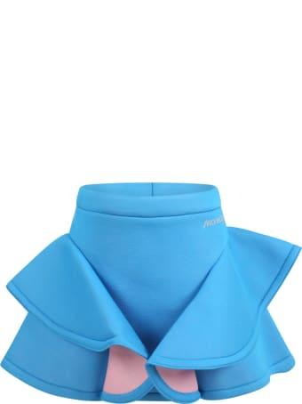 Simonetta Azure Skirt For Girl With Logo