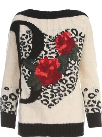 Blugirl Boat Neck L/s Sweater W/embroidered B