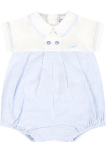 Emporio Armani Light Blue Romper For Baby Boy With Logo