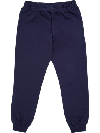 Moschino Blue Cotton Jogger With Logo Print