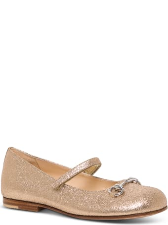 Gucci Glitter Flat Shoes With Horsebit Detail