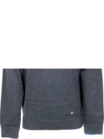 Liu-Jo Long-sleeved Crewneck Sweater In Warm Cotton With Contrasting Color Profiles