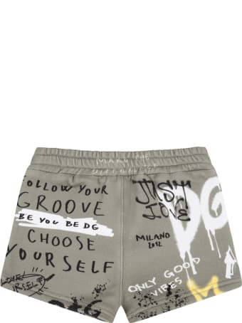 Dolce & Gabbana Green Short For Baby Boy With Logos