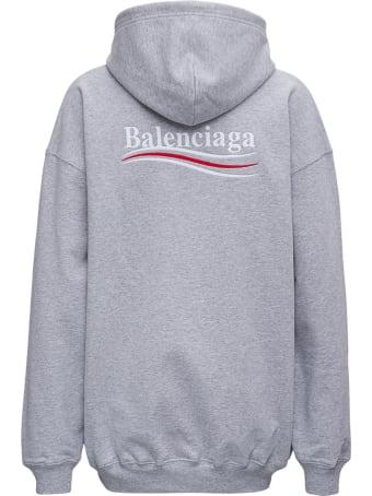 Balenciaga Grey Cotton Hoodie With Logo