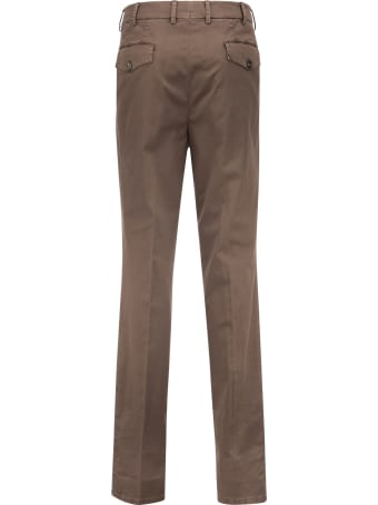 Brunello Cucinelli Garment-dyed Leisure Fit Trousers In Comfort Cotton Chevron With Double Pleats And Tabbed Waistband