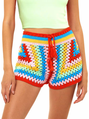 MC2 Saint Barth Multicolor Crochet Shorts
