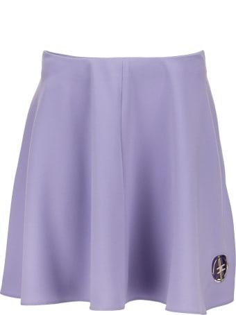 Elisabetta Franchi Mini Skirt With Flounces And Light Gold Logo