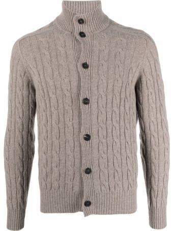 Cruciani Taupe Brown Wool-cashmere Blend Cardigan