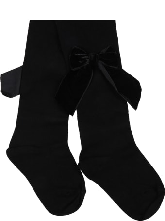 Story loris Black Tights For Baby Girl With Velvet Bows