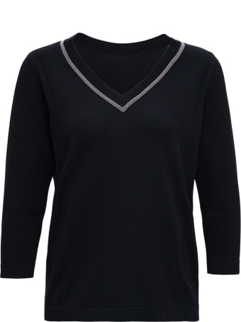 Fabiana Filippi Black Wool And Silk Sweater With Shiny Detail