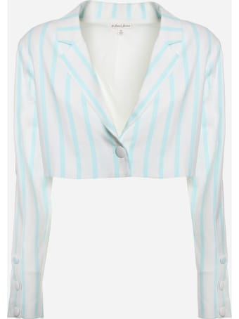 For Love & Lemons Short Blazer In Stretch Linen With Striped Print