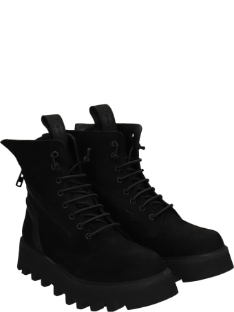 Bruno Bordese Doc Combat Boots In Black Nubuck