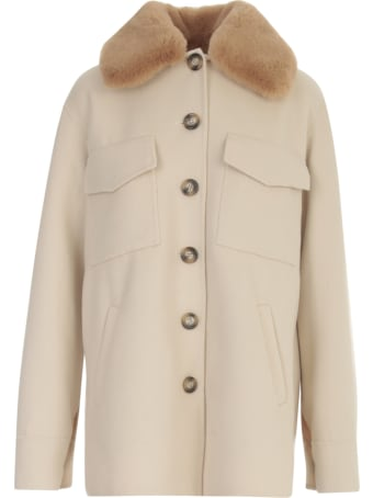 Ava Adore Double Faced Wool Jacket Shirt W/eco Fur Collar