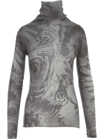 Avant Toi High Neck Off Gauge Pullover With Sunflowers Print