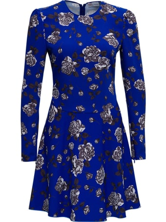 RED Valentino Cady Blue Dress With Floral Print