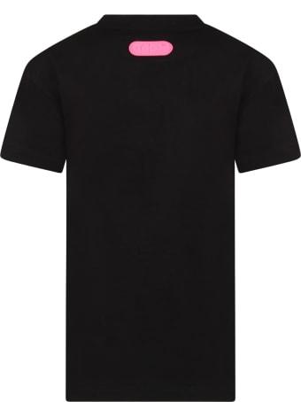 GCDS Mini Black Dress For Girl With Logo