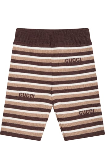 Gucci Multicolor Trousers For Baby Kids With Brown Logo