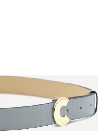 Coccinelle Grained Leather Belt With Logoed Buckle