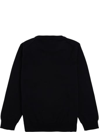 Emporio Armani Blue Cotton And Wool Sweater With Logo