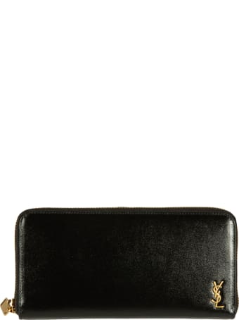 Saint Laurent Logo Plaque Zip-around Wallet