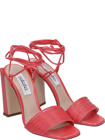 Sebastian Milano Sandals In Red Leather