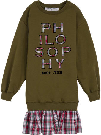Philosophy di Lorenzo Serafini Kids Green Cotton And Tulle Check Dress With Logo