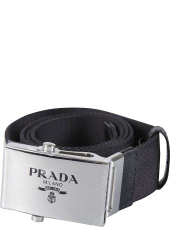 Prada Logo Stamp Buckled Belt