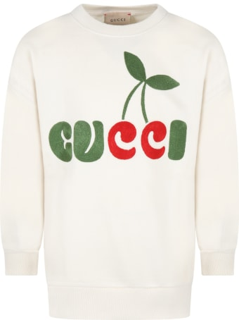 Gucci Ivory Sweatshirt For Kids With Gucci Cherry Print