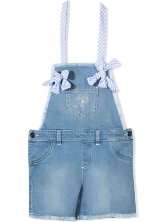 Miss Blumarine Blue Stretch Cotton Denim Dungarees