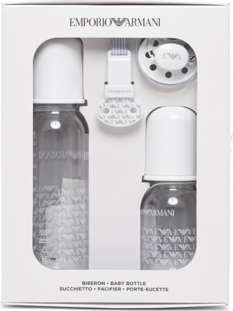 Emporio Armani Baby Bottle And Pacifier Set With Logo
