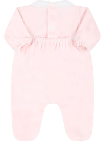 Little Bear Pink Babygrow For Baby Girl With Bear