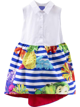 Stella Jean Girl Striped Dress With Fruits