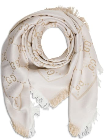 Gucci Scarf With Gg Lamé Logo