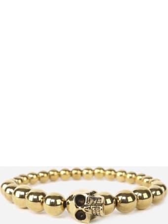 Alexander McQueen Skull Stretch Bracelet With Pearls