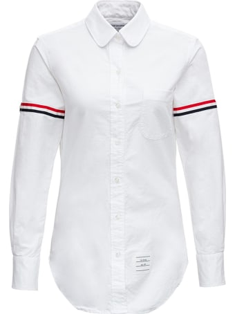 Thom Browne White Cotton Shirt With Rwb Stripe Inserts