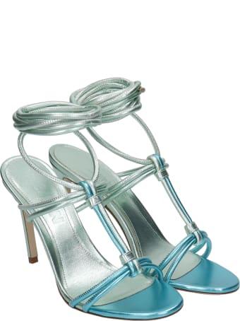 3JUIN Dalia 090 Sandals In Green Leather