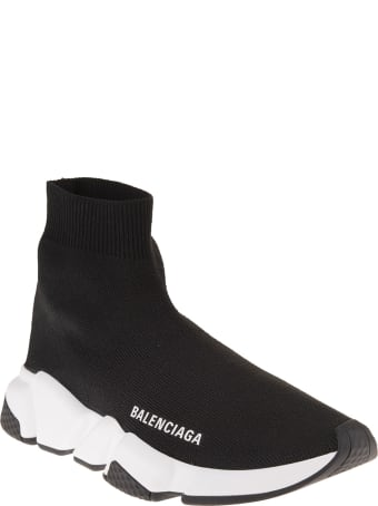 Balenciaga Woman Black And White Speed Recycled Sneakers